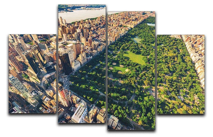 Aerial view looking north up Central Park 4 Split Panel Canvas