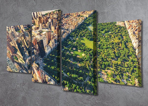 Aerial view looking north up Central Park 4 Split Panel Canvas  - Canvas Art Rocks - 2