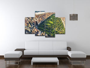 Aerial view looking north up Central Park 4 Split Panel Canvas  - Canvas Art Rocks - 3