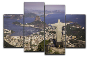 Aerial view of Christ and Botafogo Bay 4 Split Panel Canvas  - Canvas Art Rocks - 1