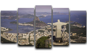 Aerial view of Christ and Botafogo Bay 5 Split Panel Canvas  - Canvas Art Rocks - 1