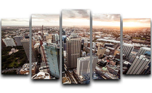 Aerial view of downtown Sydney at sunset 5 Split Panel Canvas  - Canvas Art Rocks - 1