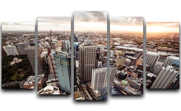 Aerial view of downtown Sydney at sunset 5 Split Panel Canvas