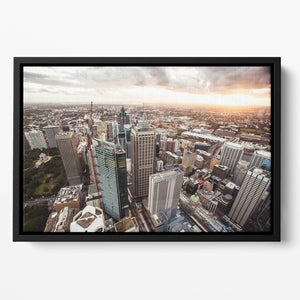Aerial view of downtown Sydney at sunset Floating Framed Canvas
