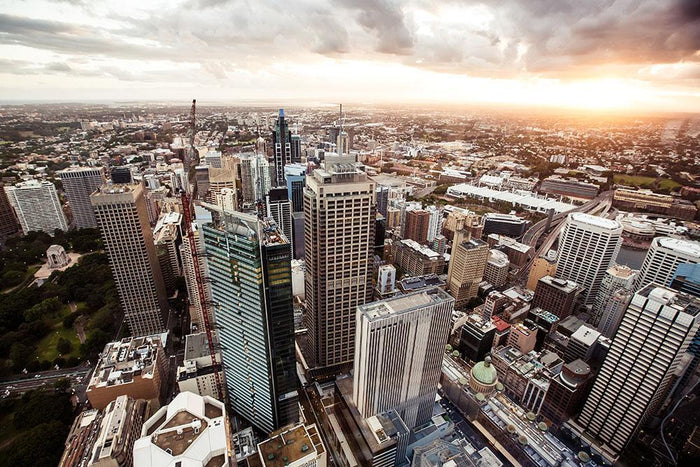 Aerial view of downtown Sydney at sunset Wall Mural Wallpaper