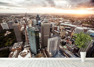 Aerial view of downtown Sydney at sunset Wall Mural Wallpaper - Canvas Art Rocks - 4