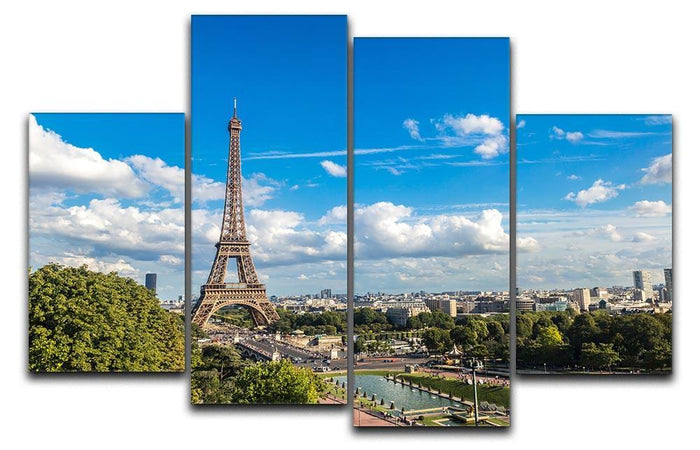 Aerial view of the Eiffel Tower 4 Split Panel Canvas