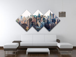 Aerial view of the New York City 4 Square Multi Panel Canvas  - Canvas Art Rocks - 3