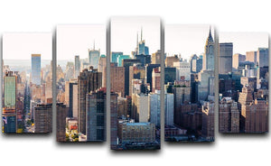 Aerial view of the New York City 5 Split Panel Canvas  - Canvas Art Rocks - 1