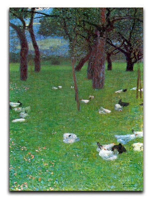 After the rain garden with chickens in St. Agatha by Klimt Canvas Print or Poster  - Canvas Art Rocks - 1