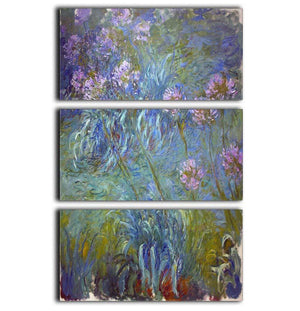 Agapanthus by Monet 3 Split Panel Canvas Print - Canvas Art Rocks - 1