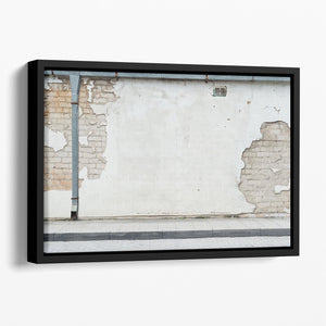 Aged street wall background Floating Framed Canvas - Canvas Art Rocks - 1