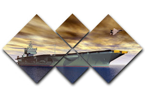 Aircraft Carrier and Fighter Plane 4 Square Multi Panel Canvas  - Canvas Art Rocks - 1