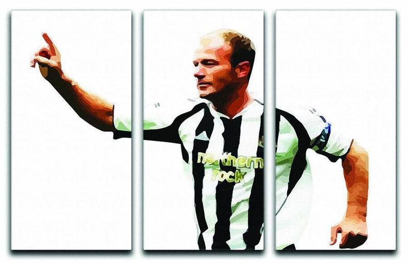 Alan Shearer Newcastle Goal Hero 3 Split Panel Canvas Print - Canvas Art Rocks - 1