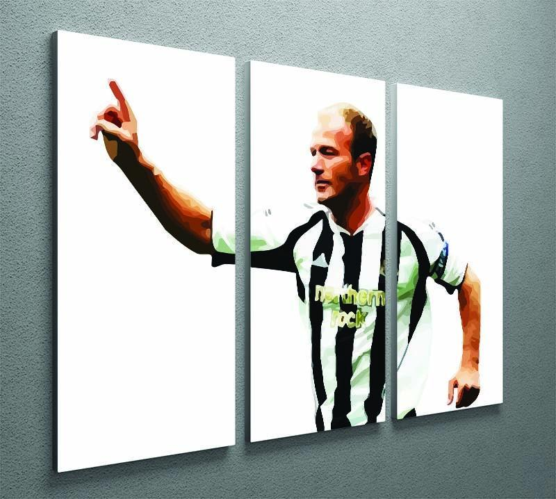 Alan Shearer Newcastle Goal Hero 3 Split Panel Canvas Print - Canvas Art Rocks - 2