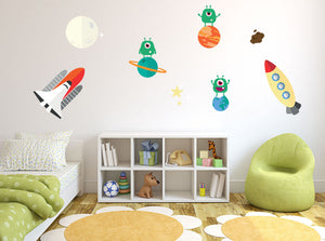 Aliens & Spaceships Wall Decal Set - US Canvas Art Rocks