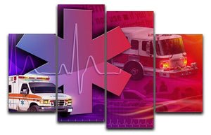 Ambulance Firetruck and Police car 4 Split Panel Canvas  - Canvas Art Rocks - 1