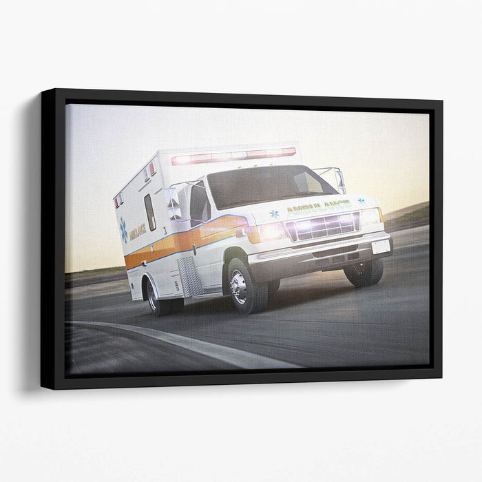 Ambulance running with lights and sirens Floating Framed Canvas