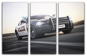 American Police Car 3 Split Panel Canvas Print - Canvas Art Rocks - 1