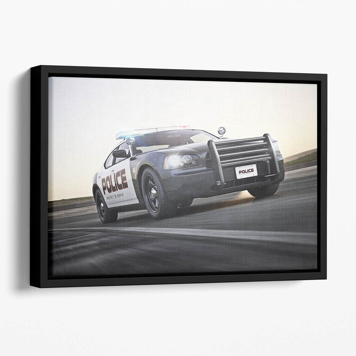 American Police Car Floating Framed Canvas