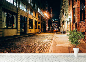 An alley at night in Brooklyn Wall Mural Wallpaper - Canvas Art Rocks - 4