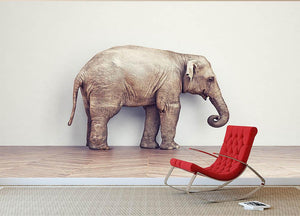 An elephant calm in the room near white wall. Creative concept Wall Mural Wallpaper - Canvas Art Rocks - 2