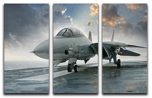 An jet fighter sits on the deck 3 Split Panel Canvas Print - Canvas Art Rocks - 1