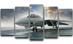An jet fighter sits on the deck 5 Split Panel Canvas  - Canvas Art Rocks - 1