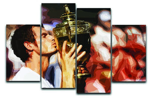 Andy Murray Wimbledon Winner 4 Split Panel Canvas  - Canvas Art Rocks - 1