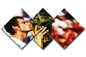 Andy Murray Wimbledon Winner 4 Square Multi Panel Canvas  - Canvas Art Rocks - 1