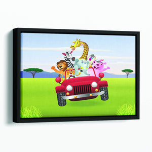 Animal Cartoon in red car Floating Framed Canvas