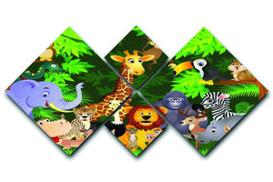Animal cartoon 4 Square Multi Panel Canvas  - Canvas Art Rocks - 1