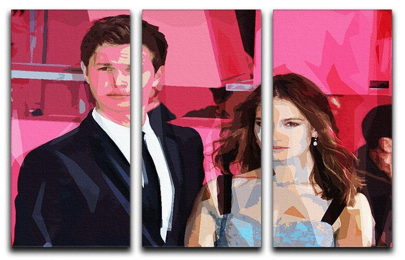 Ansel Elgort and Lily James Baby Driver Pop Art 3 Split Panel Canvas Print - Canvas Art Rocks - 1