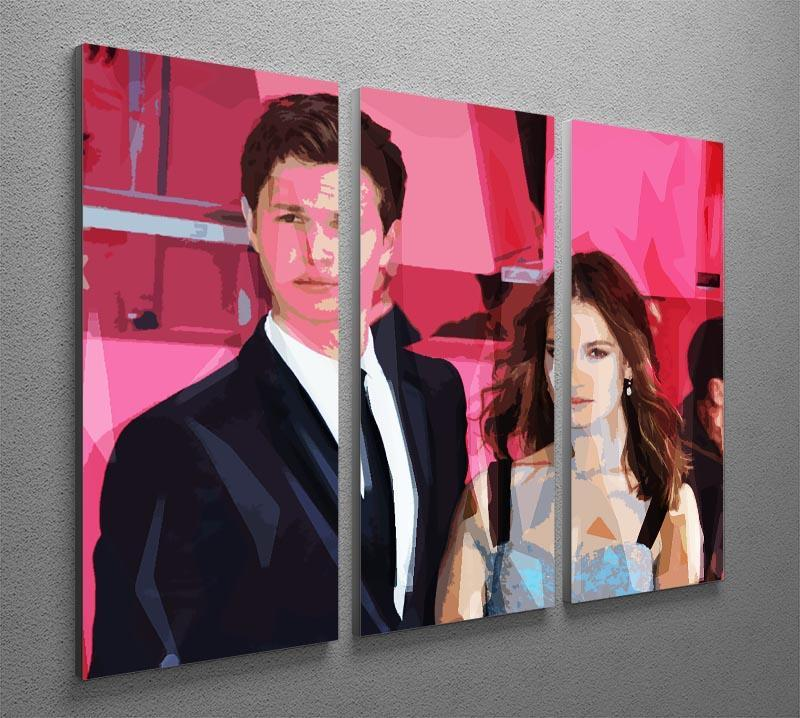Ansel Elgort and Lily James Baby Driver Pop Art 3 Split Panel Canvas Print - Canvas Art Rocks - 2