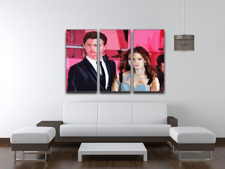 Ansel Elgort and Lily James Baby Driver Pop Art 3 Split Panel Canvas Print - Canvas Art Rocks - 3