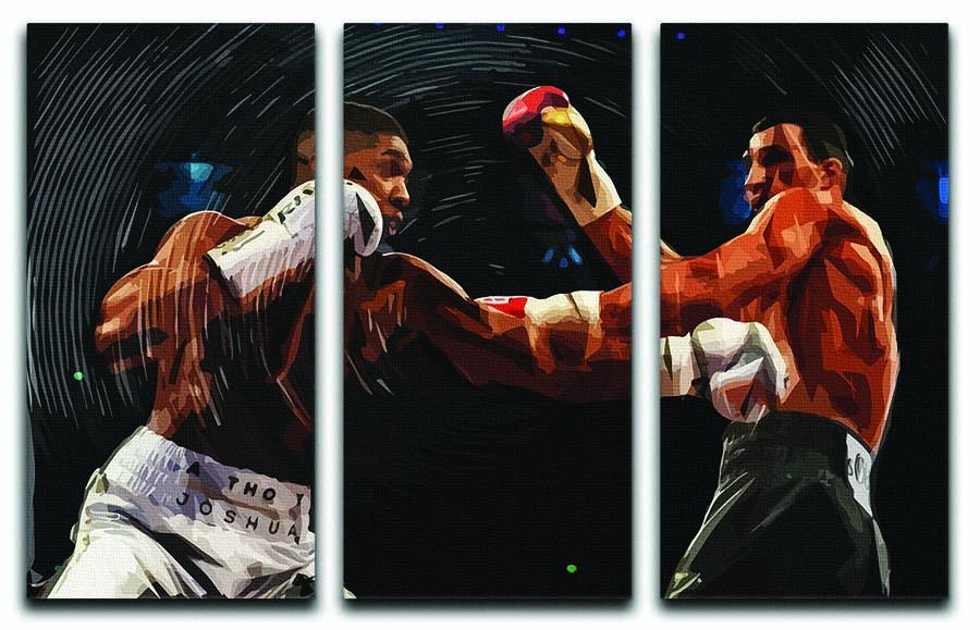 anthony joshua vs klitschko punch 3 split panel canvas print