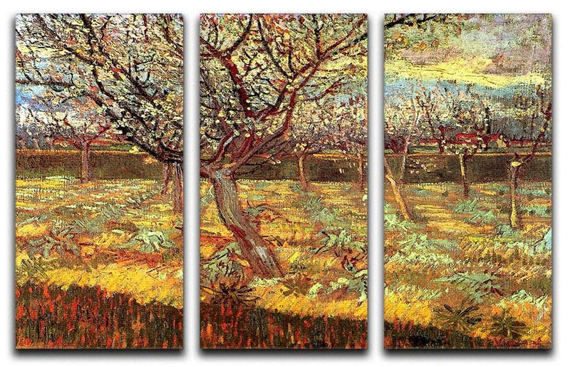 Apricot Trees in Blossom by Van Gogh 3 Split Panel Canvas Print - Canvas Art Rocks - 4