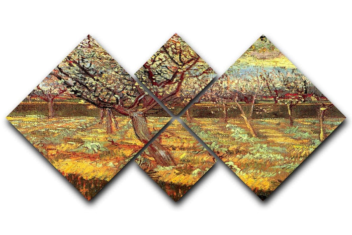 Apricot Trees in Blossom by Van Gogh 4 Square Multi Panel Canvas