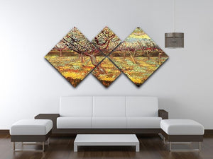 Apricot Trees in Blossom by Van Gogh 4 Square Multi Panel Canvas - Canvas Art Rocks - 3