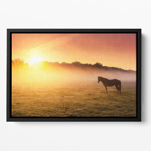 Arabian horses grazing on pasture at sundown in orange sunny beams. Dramatic foggy scene Floating Framed Canvas - Canvas Art Rocks - 2