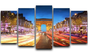 Arc de triomphe Paris city at sunset 5 Split Panel Canvas  - Canvas Art Rocks - 1
