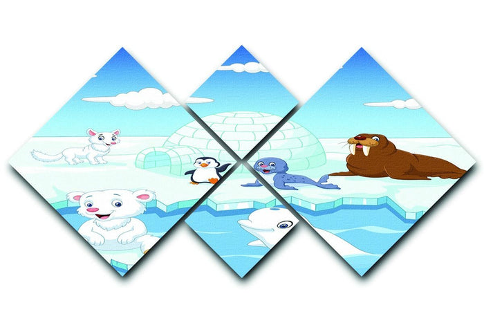 Arctics animals 4 Square Multi Panel Canvas