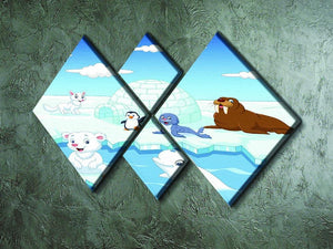 Arctics animals 4 Square Multi Panel Canvas - Canvas Art Rocks - 2