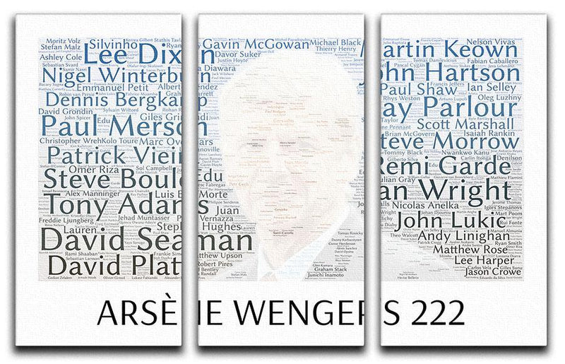 Arsene Wengers 222 Players 3 Split Panel Canvas Print - Canvas Art Rocks - 1
