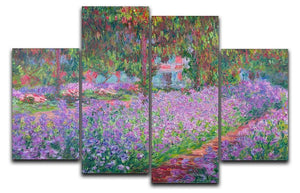Artists Garden by Monet 4 Split Panel Canvas  - Canvas Art Rocks - 1