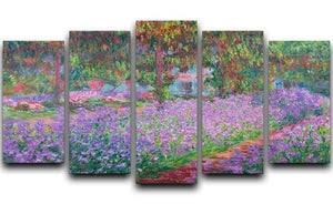 Artists Garden by Monet 5 Split Panel Canvas  - Canvas Art Rocks - 1