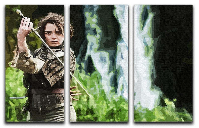 Arya from Game of Thrones 3 Split Panel Canvas Print - Canvas Art Rocks - 4