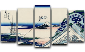 Asakusa Honganji temple by Hokusai 5 Split Panel Canvas  - Canvas Art Rocks - 1