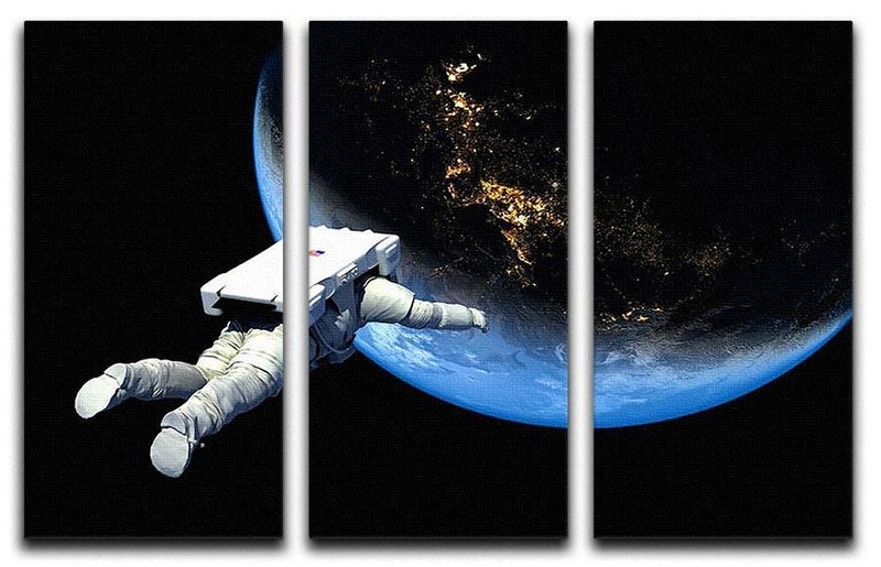 Astronaut Floating to Earth 3 Split Panel Canvas Print - Canvas Art Rocks - 1