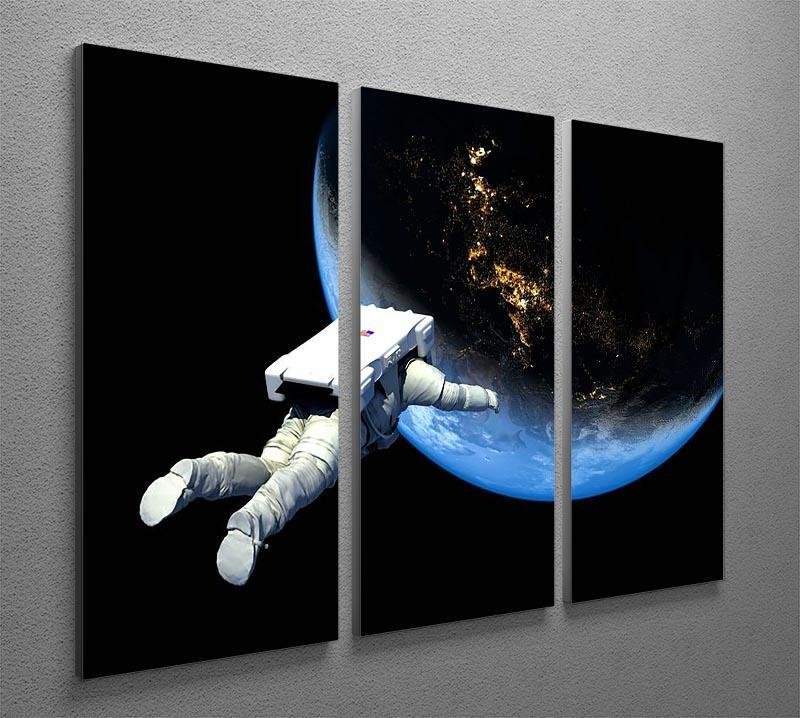 Astronaut Floating to Earth 3 Split Panel Canvas Print - Canvas Art Rocks - 2